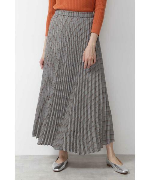 NATURAL BEAUTY BASIC / ナチュラルビューティーベーシック スカート | [洗える]チェックプリーツスカート◆(ブラウン系2)
