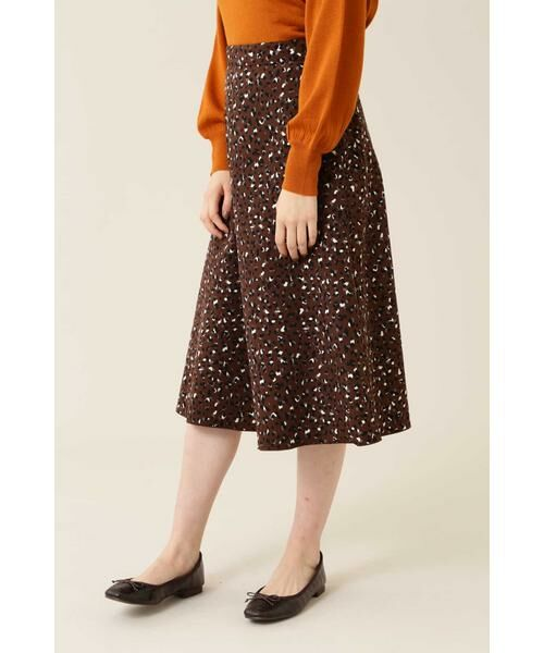 NATURAL BEAUTY BASIC / ナチュラルビューティーベーシック スカート | [洗える]2WAYリバーシブルアニマルプリントスカート◆(ブラウン系×ネイビー2)