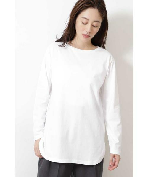 NATURAL BEAUTY BASIC / ナチュラルビューティーベーシック Tシャツ | |steady. 11月号掲載|ラウンドヘムロンT | 詳細2