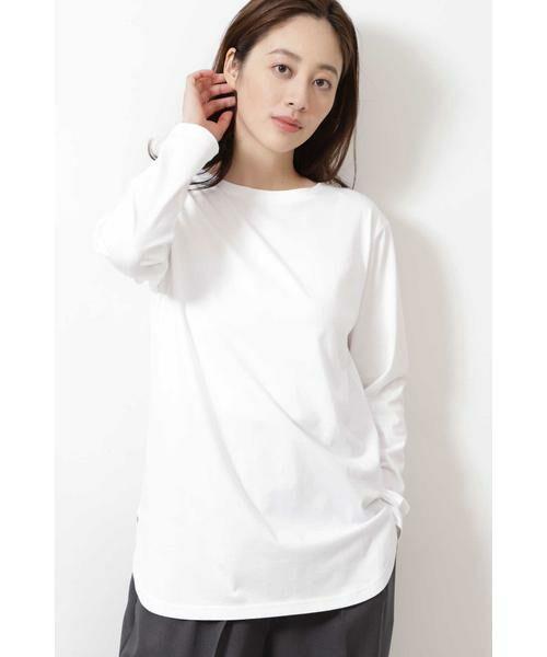 NATURAL BEAUTY BASIC / ナチュラルビューティーベーシック Tシャツ | |steady. 11月号掲載|ラウンドヘムロンT(オフ1)