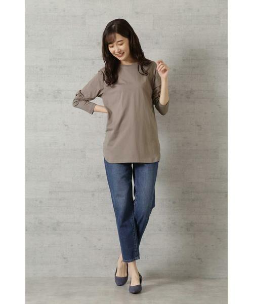 NATURAL BEAUTY BASIC / ナチュラルビューティーベーシック Tシャツ | |steady. 11月号掲載|ラウンドヘムロンT | 詳細18