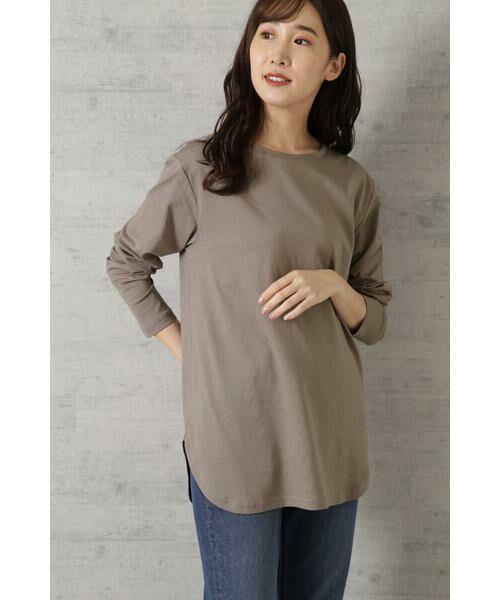 NATURAL BEAUTY BASIC / ナチュラルビューティーベーシック Tシャツ | |steady. 11月号掲載|ラウンドヘムロンT(モカブラウン)