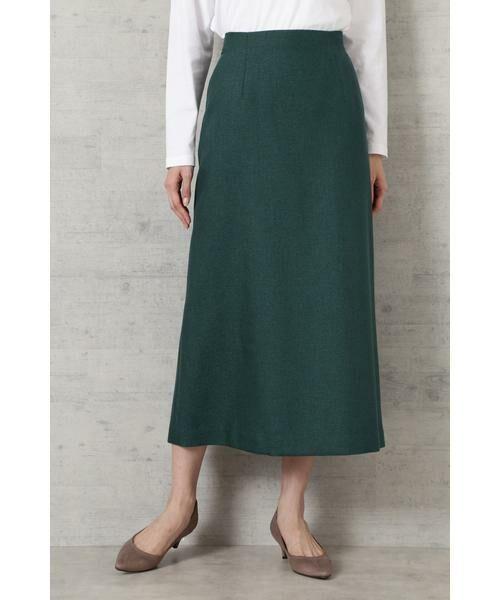 NATURAL BEAUTY BASIC / ナチュラルビューティーベーシック スカート | ライトツイードAラインスカート(グリーン)