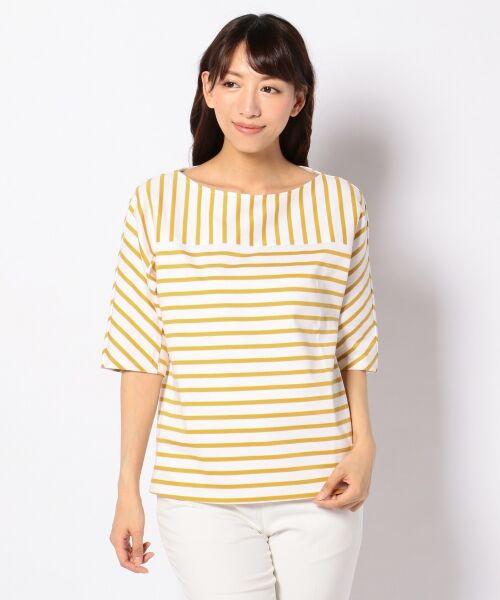 23区 / ニジュウサンク Tシャツ | 【洗える】ボーダーミックスTEE カットソー(イエロー系1)