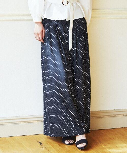 23区 / ニジュウサンク その他パンツ   【洗える】POLKA DOT PRINT パンツ(ブラック系1)