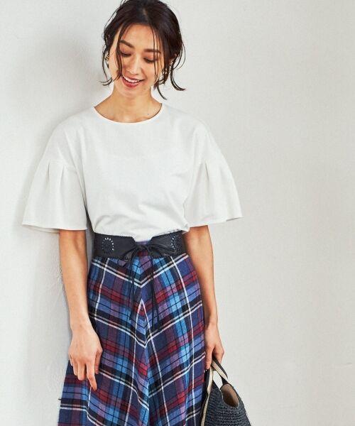 23区 / ニジュウサンク Tシャツ | 【洗える】キュプラモクロディ カットソー(ホワイト系)