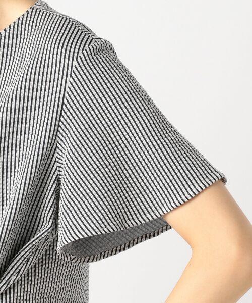 23区 / ニジュウサンク Tシャツ | 【シワになりにくい】シアサッカーストライプ リボン付 カットソー | 詳細13