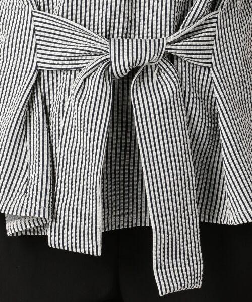 23区 / ニジュウサンク Tシャツ | 【シワになりにくい】シアサッカーストライプ リボン付 カットソー | 詳細7