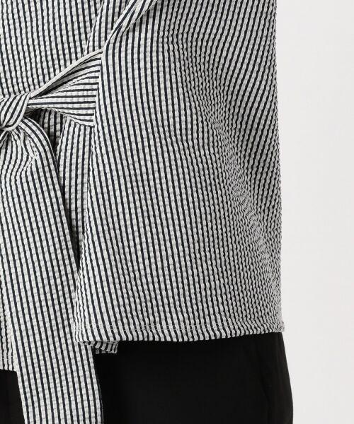 23区 / ニジュウサンク Tシャツ | 【シワになりにくい】シアサッカーストライプ リボン付 カットソー | 詳細8