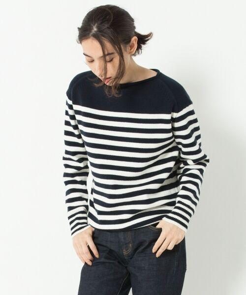 23区 / ニジュウサンク ニット・セーター | 【洗える】コットンブレンドコード チュニック ニット(ネイビー系1)