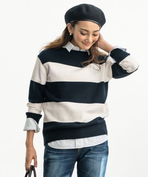 23区 / ニジュウサンク ニット・セーター | 【洗える】コットンブレンドコード チュニック ニット(ネイビー系2)