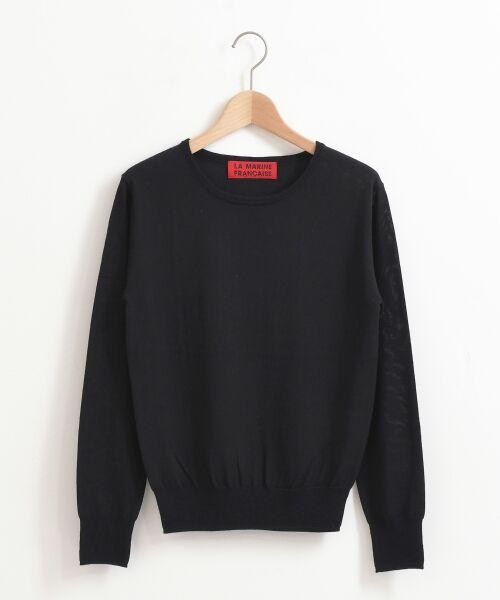 NIMES / ニーム ニット・セーター | 14G天竺/ワイドリブ クルーネックP/O(ブラック)