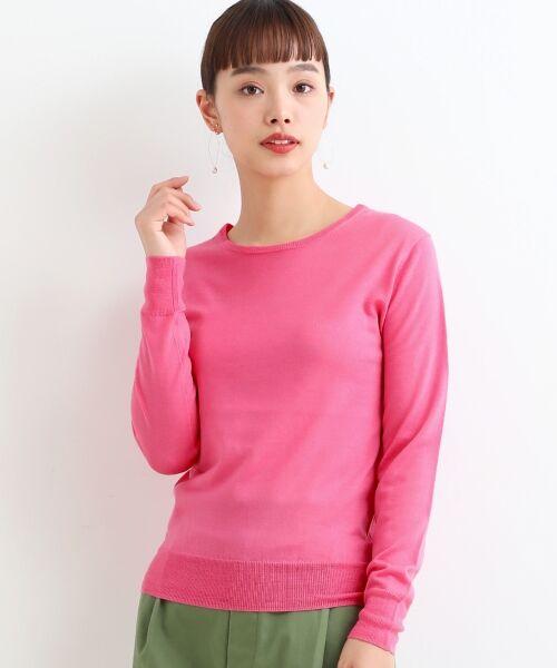 NIMES / ニーム ニット・セーター | 14G天竺/ワイドリブ クルーネックP/O(ピンク)