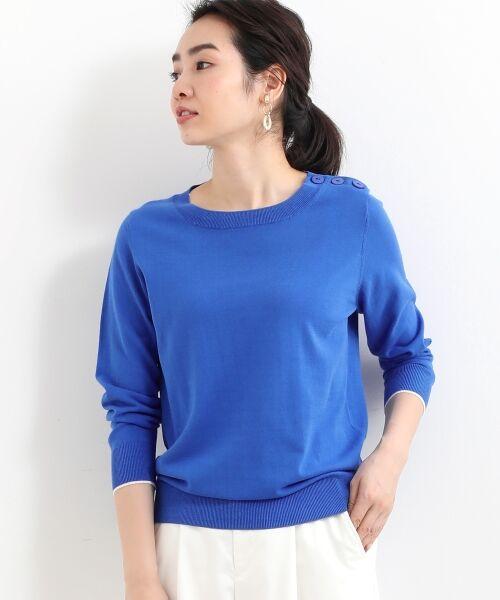 NIMES / ニーム ニット・セーター | 16G天竺 肩釦プルオーバー(インクブルー)