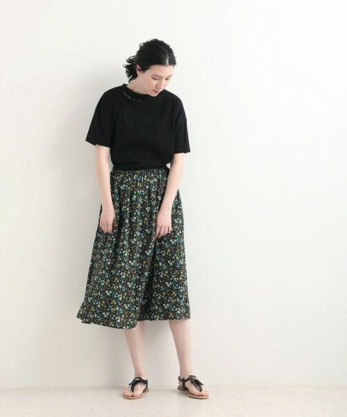 NIMES / ニーム Tシャツ | 32コットン 刺繍Tシャツ(ブラック)
