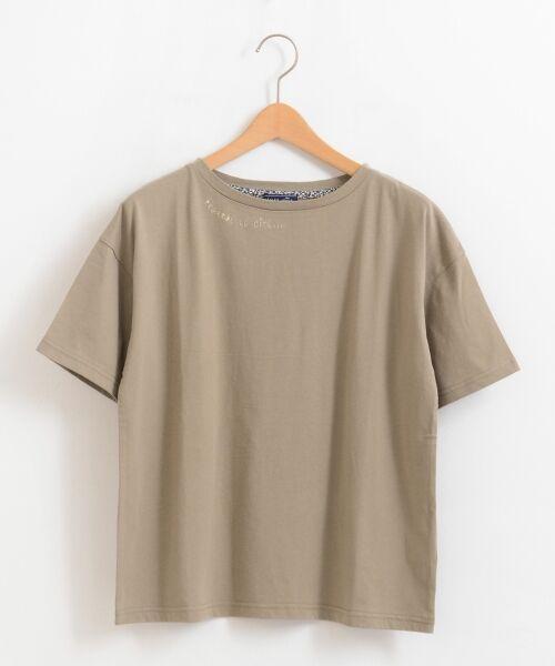 NIMES / ニーム Tシャツ | 32コットン 刺繍Tシャツ(モカ)