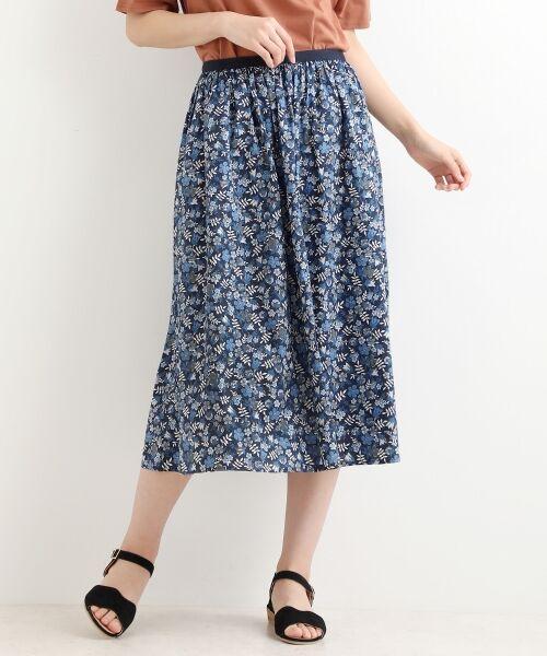 NIMES / ニーム ミニ・ひざ丈スカート | LIBERTY Assort ギャザースカート(ブルー)