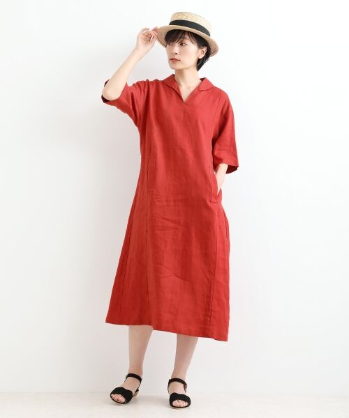 NIMES / ニーム ミニ丈・ひざ丈ワンピース | LINEN 5分袖ワンピース(レッド系)
