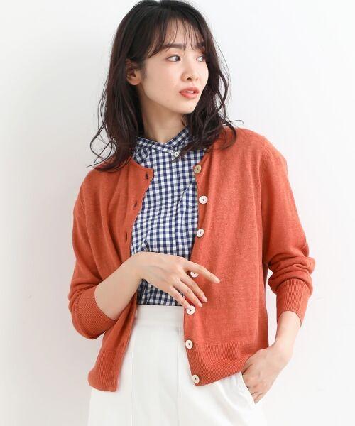 NIMES / ニーム カーディガン・ボレロ | 12Gリネン天竺クルーネックカーディガン(オレンジ)