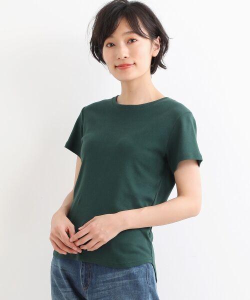 NIMES / ニーム Tシャツ | コーマフライス裾テール半袖Tee(グリーン)