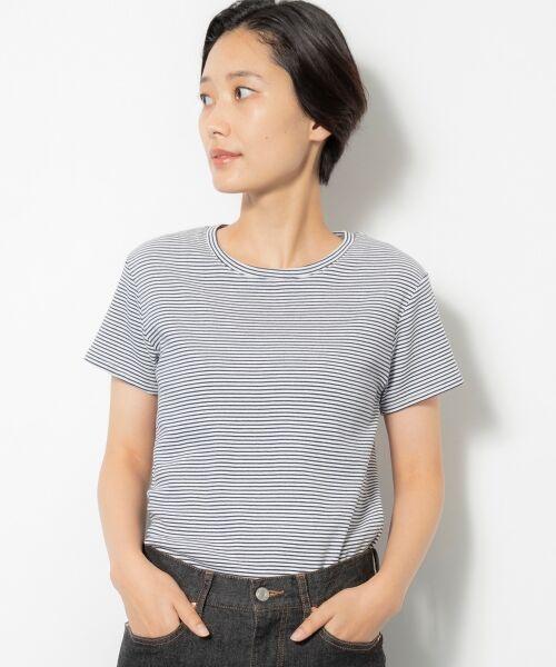 NIMES / ニーム Tシャツ | コーマフライス裾テール半袖Tee(ネイビー系1)