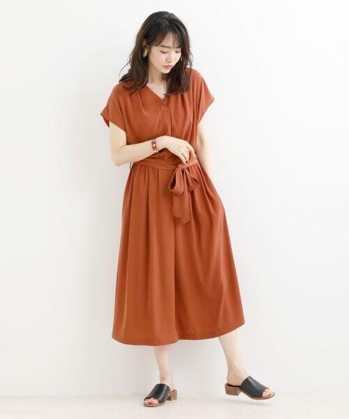 NIMES / ニーム ロング・マキシ丈ワンピース | 小紋柄etムジワンピース(オレンジ)