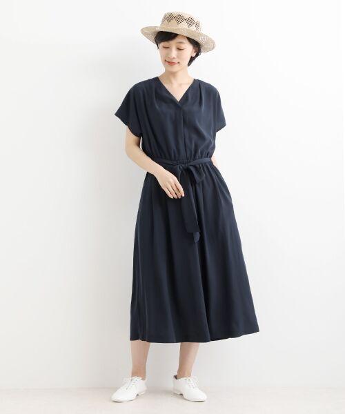 NIMES / ニーム ロング・マキシ丈ワンピース | 小紋柄etムジワンピース(ネイビー)