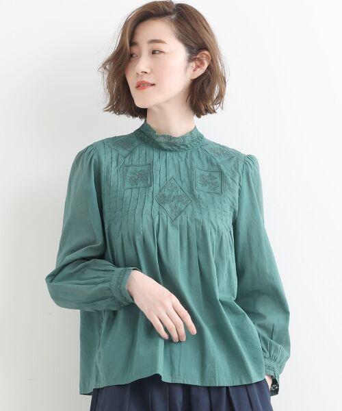 NIMES / ニーム シャツ・ブラウス | Fabrique en Inde 刺繍ブラウス(グリーン)