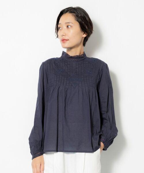 NIMES / ニーム シャツ・ブラウス | Fabrique en Inde 刺繍ブラウス(ネイビー)