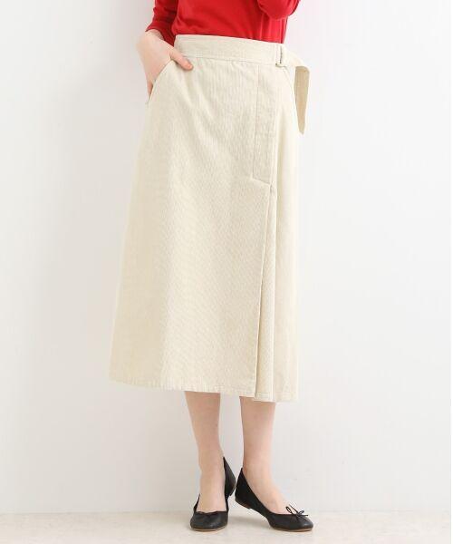 NIMES / ニーム ミニ・ひざ丈スカート | Corduroyラップ風スカート(エクリュ)