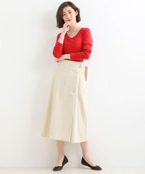 NIMES / ニーム ミニ・ひざ丈スカート | Corduroyラップ風スカート | 詳細1