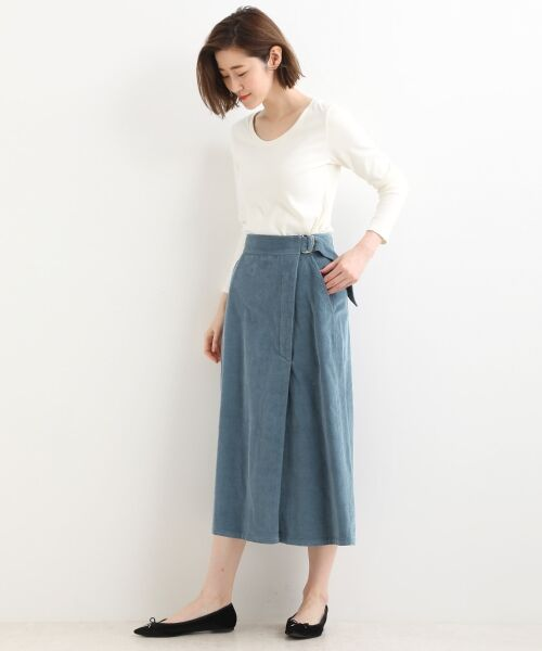 NIMES / ニーム ミニ・ひざ丈スカート | Corduroyラップ風スカート | 詳細2