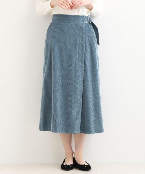 NIMES / ニーム ミニ・ひざ丈スカート | Corduroyラップ風スカート | 詳細3