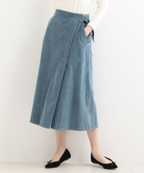 NIMES / ニーム ミニ・ひざ丈スカート | Corduroyラップ風スカート(ブルー)