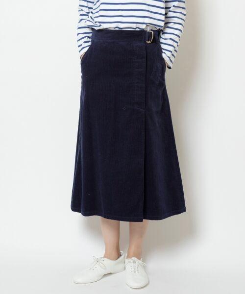 NIMES / ニーム ミニ・ひざ丈スカート | Corduroyラップ風スカート(ネイビー)