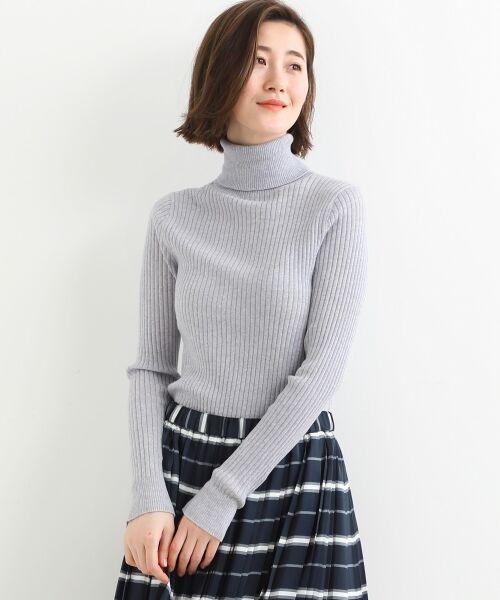NIMES / ニーム ニット・セーター | Washable wool袖釦タートルネック(グレー)