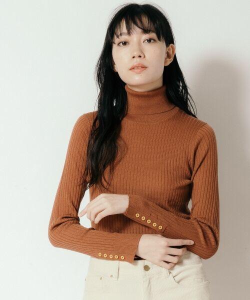 NIMES / ニーム ニット・セーター | Washable wool袖釦タートルネック(キャメル)