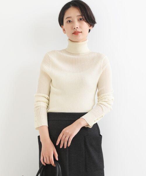 NIMES / ニーム ニット・セーター | Washable wool袖釦タートルネック(エクリュ)