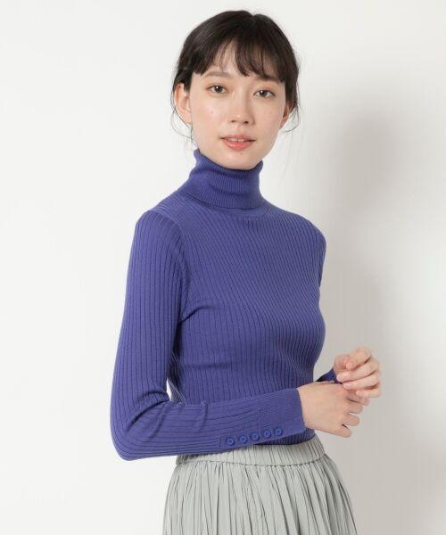 NIMES / ニーム ニット・セーター | Washable wool袖釦タートルネック(ブルー)