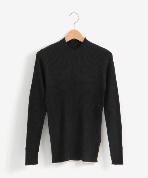 NIMES / ニーム ニット・セーター | コットンアクリルリブ ハイネックプルオーバー(ブラック)