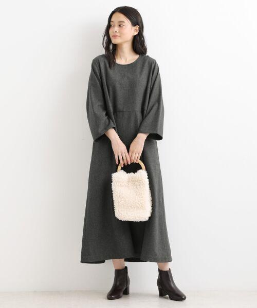 NIMES / ニーム ロング・マキシ丈ワンピース | ウール混カラーフラノ ワンピース(チャコールグレー)