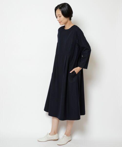 NIMES / ニーム ロング・マキシ丈ワンピース | ウール混カラーフラノ ワンピース(ネイビー)