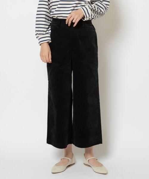 NIMES / ニーム ショート・ハーフ・半端丈パンツ | コットン別珍 9分丈パンツ(ブラック)