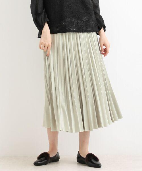 NIMES / ニーム ロング・マキシ丈スカート | プリーツ スエードスカート(ベージュ)