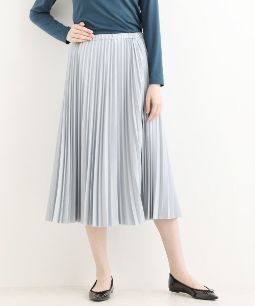 NIMES / ニーム ロング・マキシ丈スカート | ギャバストレッチプリーツスカート(グレー)