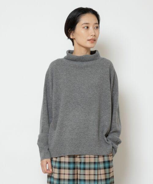 NIMES / ニーム ニット・セーター | ウールカシミアオフタートルプルオーバー(グレー)