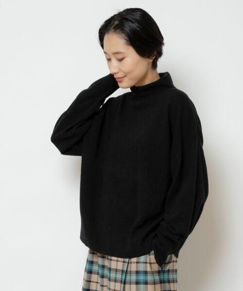 NIMES / ニーム ニット・セーター   ウールカシミアオフタートルプルオーバー(ブラック)