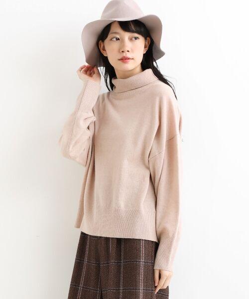 NIMES / ニーム ニット・セーター   ウールカシミアオフタートルプルオーバー(ピンク)