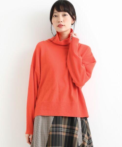 NIMES / ニーム ニット・セーター   ウールカシミアオフタートルプルオーバー(オレンジ)