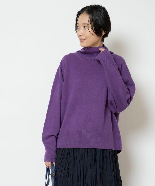 NIMES / ニーム ニット・セーター | ウールカシミアオフタートルプルオーバー(パープル)